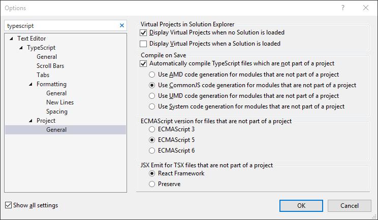 Visual Studio's bullshit support of TypeScript's tsconfig